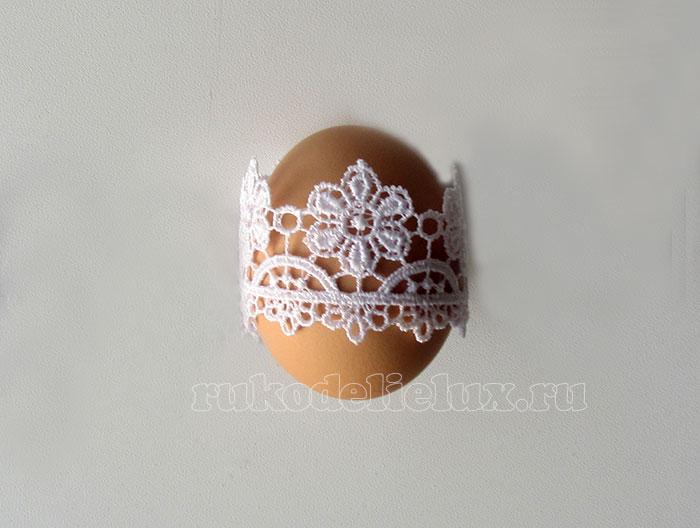 яйцо на пасху с кружевами