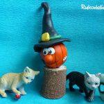 Поделка на хэллоуин — тыква в шляпе из пластилина