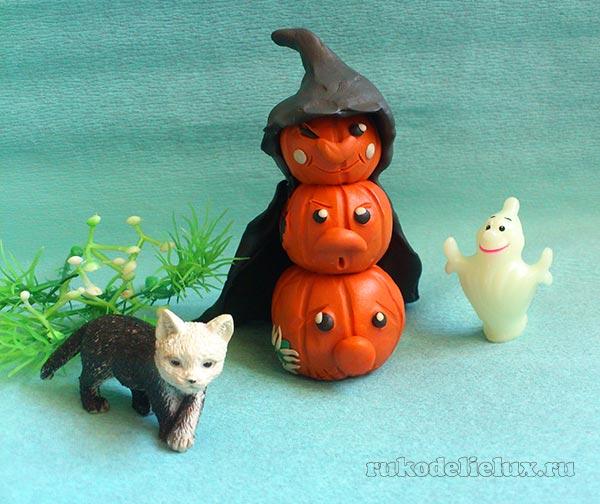 тыква из пластилинв украшения на Хэллоуин