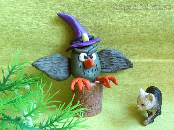 Как сделать сову из пластилина на Хэллоуин