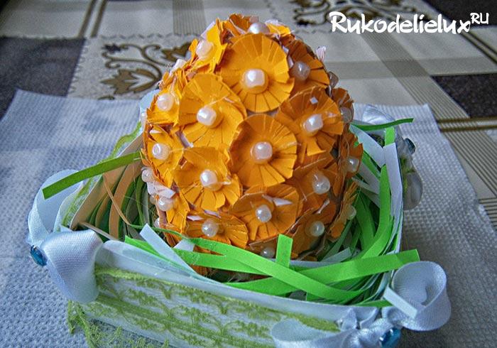Цветочное пасхальное яйцо