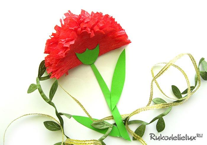 Carnation flower of corrugated paper