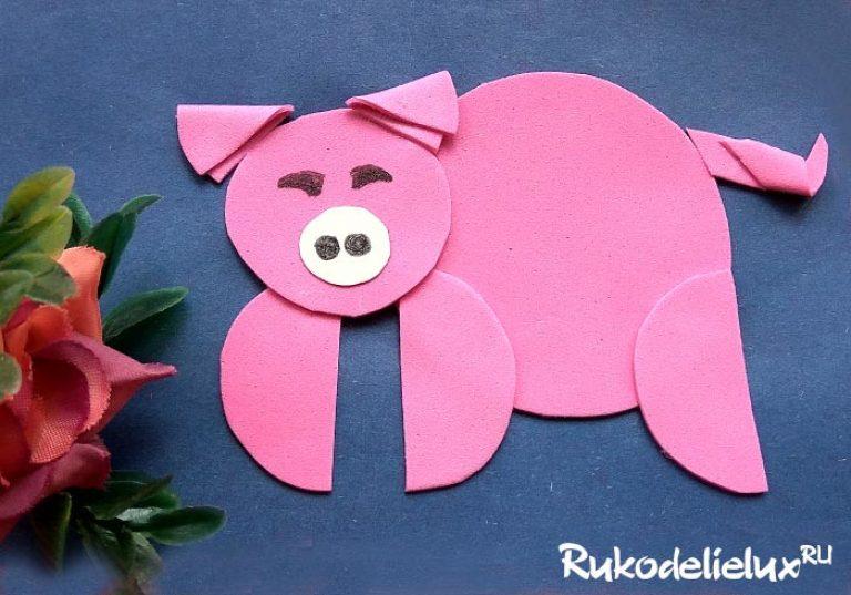 Новогодняя открытка свинка из ватных дисков своими руками для детей