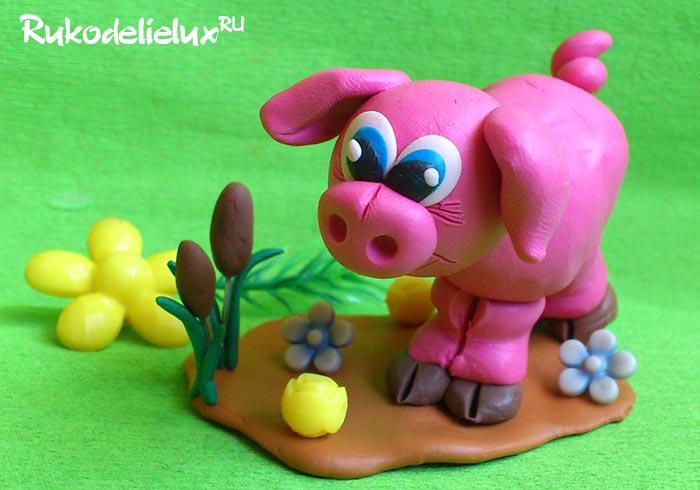 Свинка из пластилина своими руками