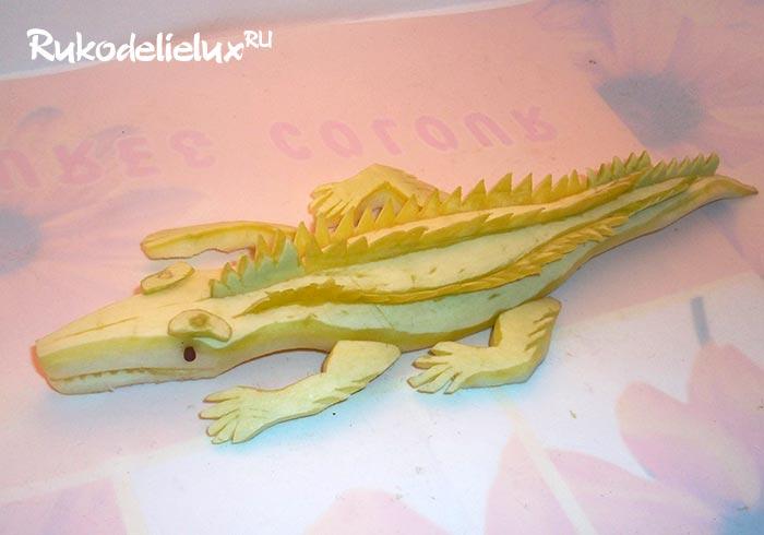 Детские поделки из овощей крокодил из кабачка