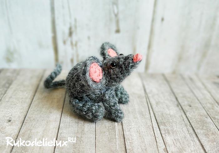 Мышь пушистик крючком