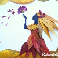 Как сделать аппликации из осенних листьев