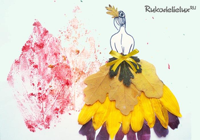 Осенняя аппликация Девушка в саду