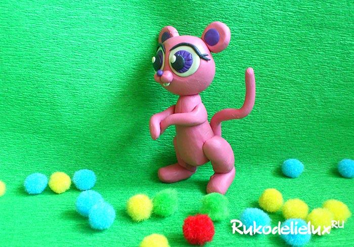 Лепка розовой мышки своими руками