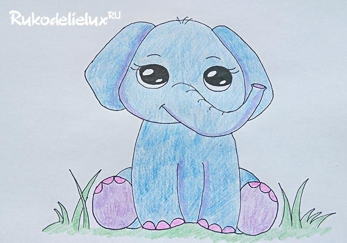 Как нарисовать маленького слона