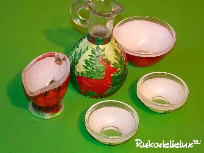 Декупаж стеклянной посуды
