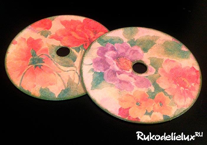 Подставки под горячее из дисков в технике декупаж