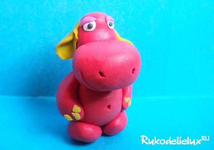 Как слепить розовый пластилиновый бегемот