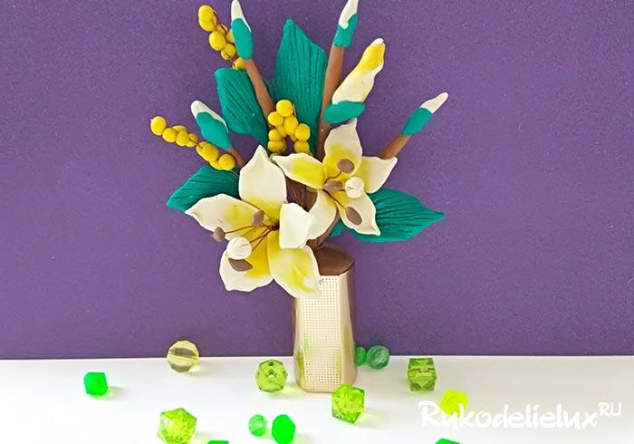 Веточка лилии из пластилина