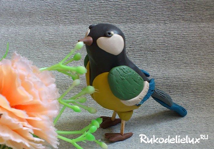 Птица синица из пластилина