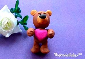 Медвежонок из пластилина для детей