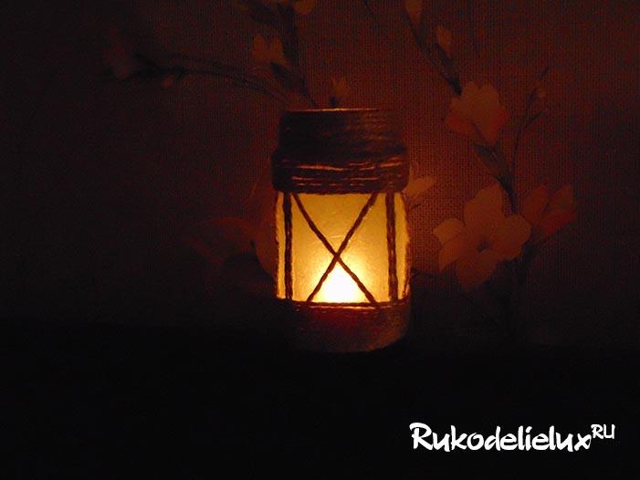 подсвечник-фонарик из банки