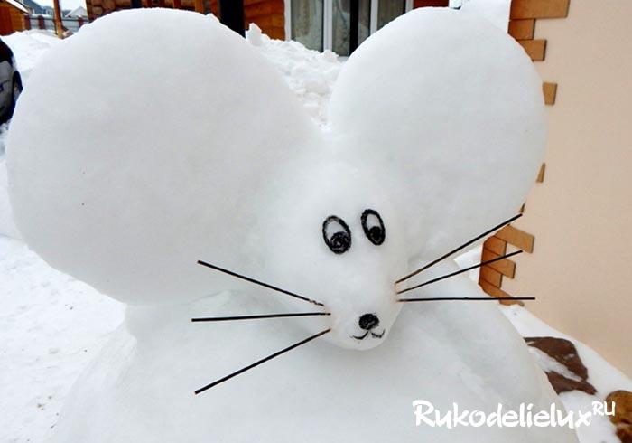 Мышка из снега своими руками
