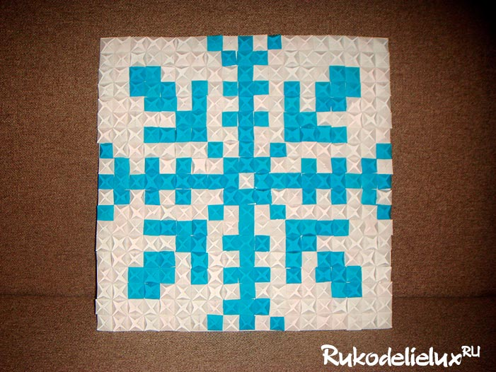 Снежинка из бумаги в технике оригами-мозаика