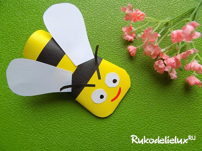Забавная поделка из бумаги пчёлка на палец