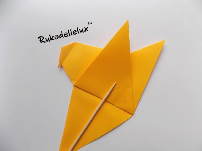 птичка с крыльями бумажная оригами
