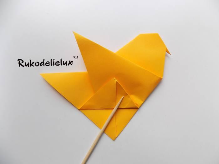 почти готовая птичка оригами