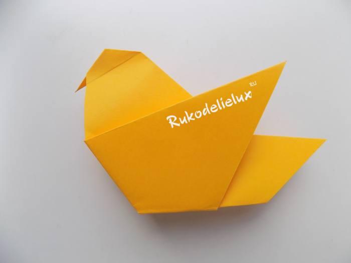 процесс простой бумажной птички для детей
