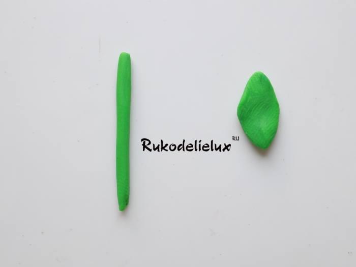 листики из пластилина для пирожного