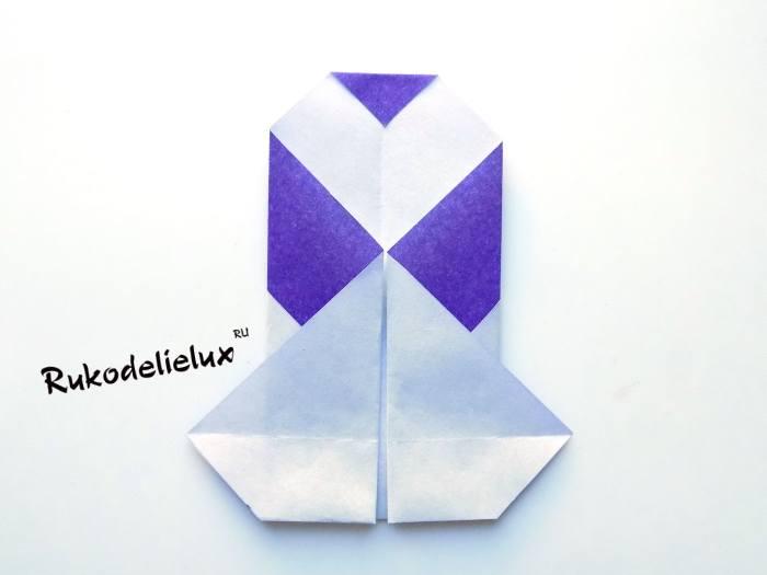 формирование пингвина сгибами оригами