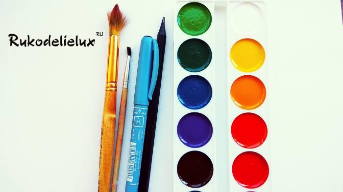 материалы для рисования осеннего букета красками
