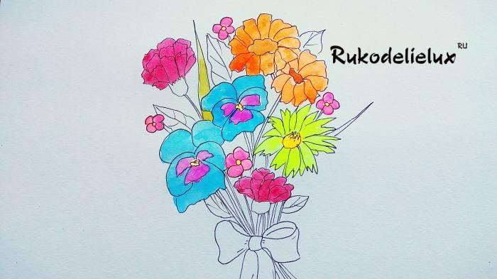 раскрашивание рисунка цветной акварелью