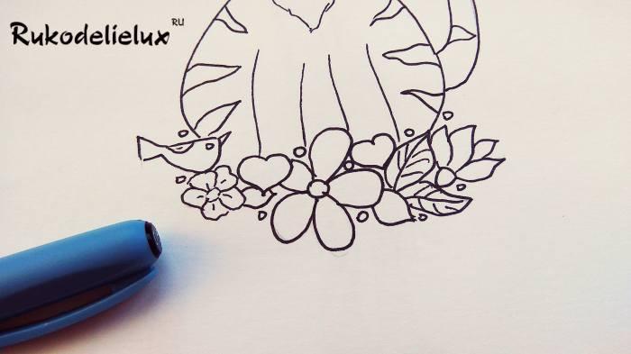 цветочки и котик нарисованный ребенком