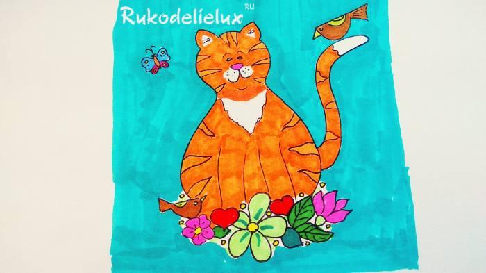 остальные цветные части рисунка с рыжим котом