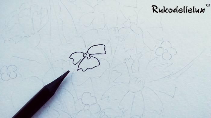 начинаем рисовать осенний букет цветов