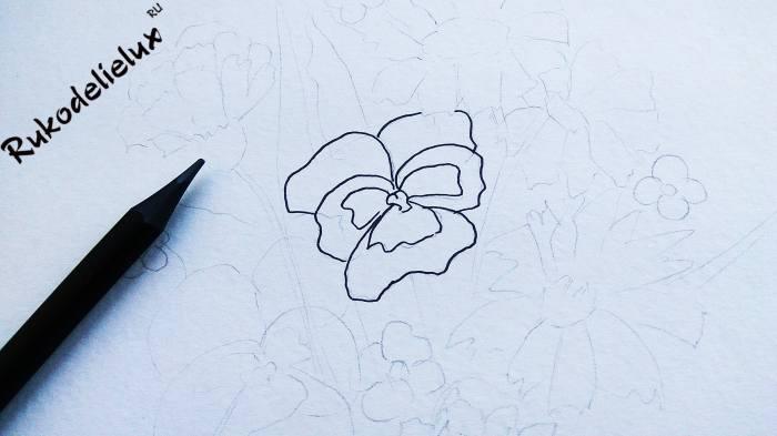 лепестки осенних цветов карандашом