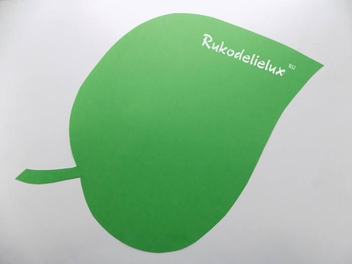вырезанный зеленый цветной листок из бумаги или картона