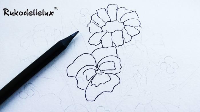 вырисовывание цветка на бумаге