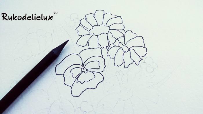 продолжаем рисовать осенние цветки