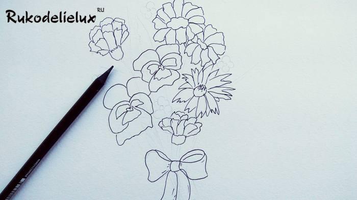 бутоны осенних цветок рисовать детям