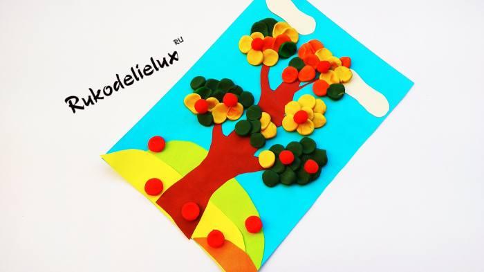готовая картина из пластилина своими руками - дерево осеннее