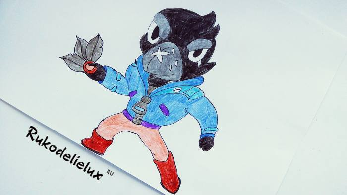 Ворон карандашом из игры Бравл Старс нарисованный