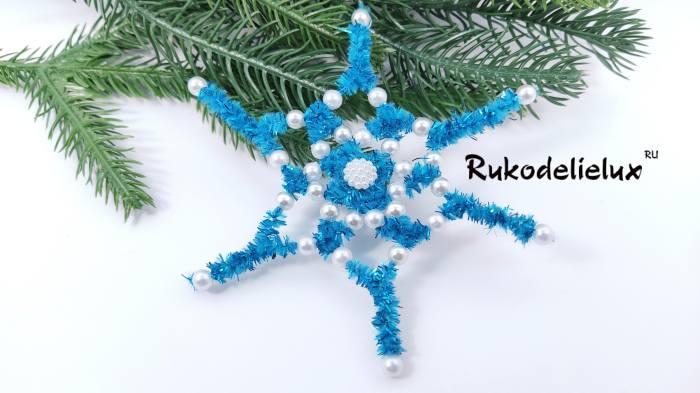 снежинка из синельной проволоки
