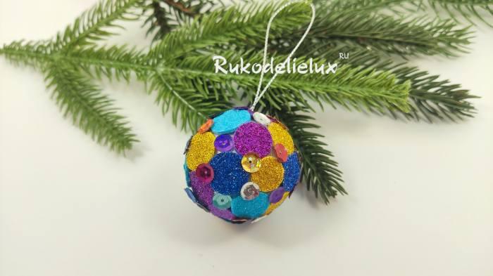 елочный шарик из фоамирана на елку своими руками