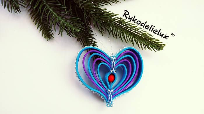 сердечко из фоамирана игрушка на елку своими руками