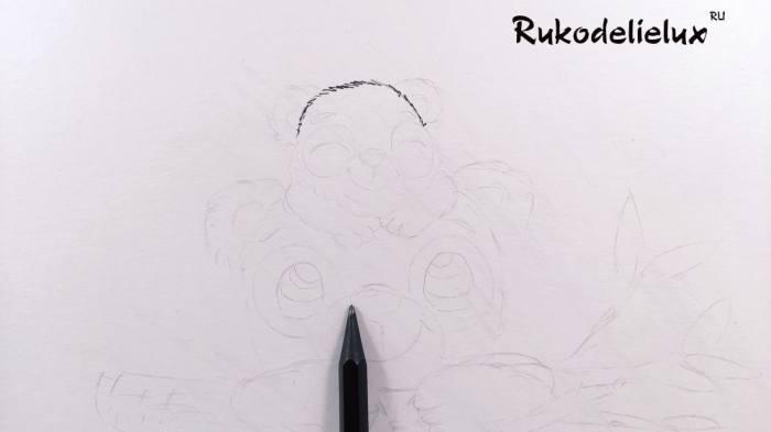 начинаем рисовать карандашом рисунок пандочек ко дню матери