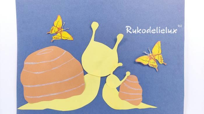 бабочки рядом с улитками