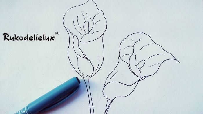 стебель и жилки для второго цветка каллы своими руками