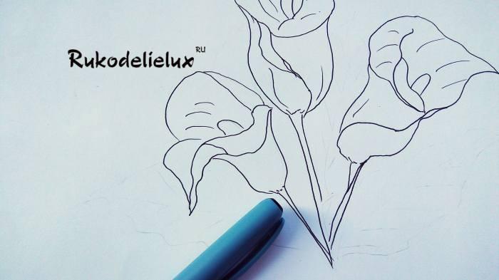 третий цветок каллы карандашом и сбор букета
