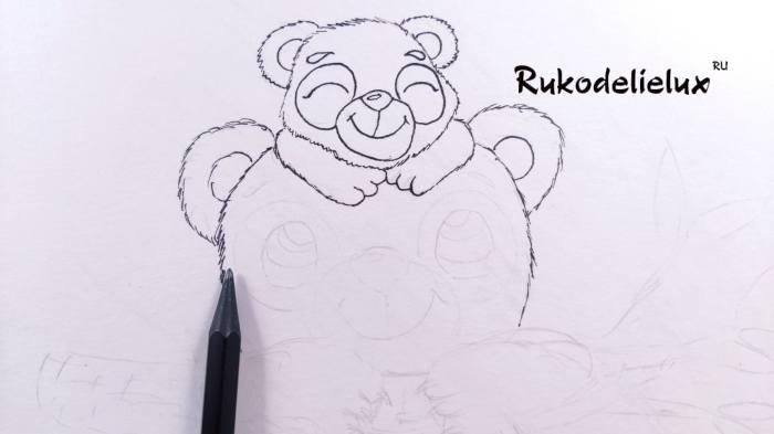 начинаем вырисовывать большую панду под маленькой