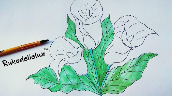 зеленой акварельной краской раскрашиваем каллы